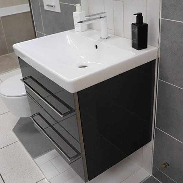 Basin with built-in cupboard