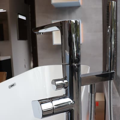 Chrome tap and bath